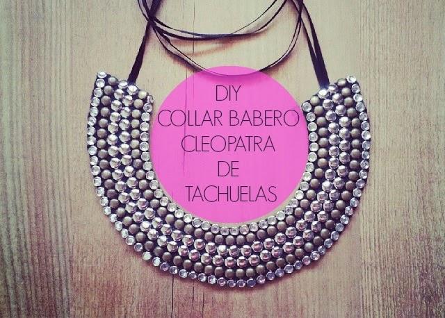 Haz tu misma un super collar babero cleopatra de tachuelas brillantes y elegante,facilmente con tachuelas ,fieltro,silicona caliente y cinta de raso negro.