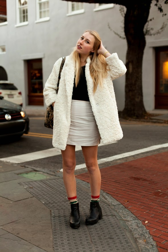 Danie charleston south carolina street style charleston street style womens fashion winter fashion king street fuzzy coat mini skirt booties blondes 2014