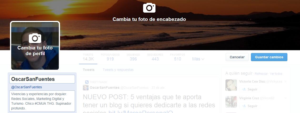 como cambiar foto de portada y de perfil en Twitter