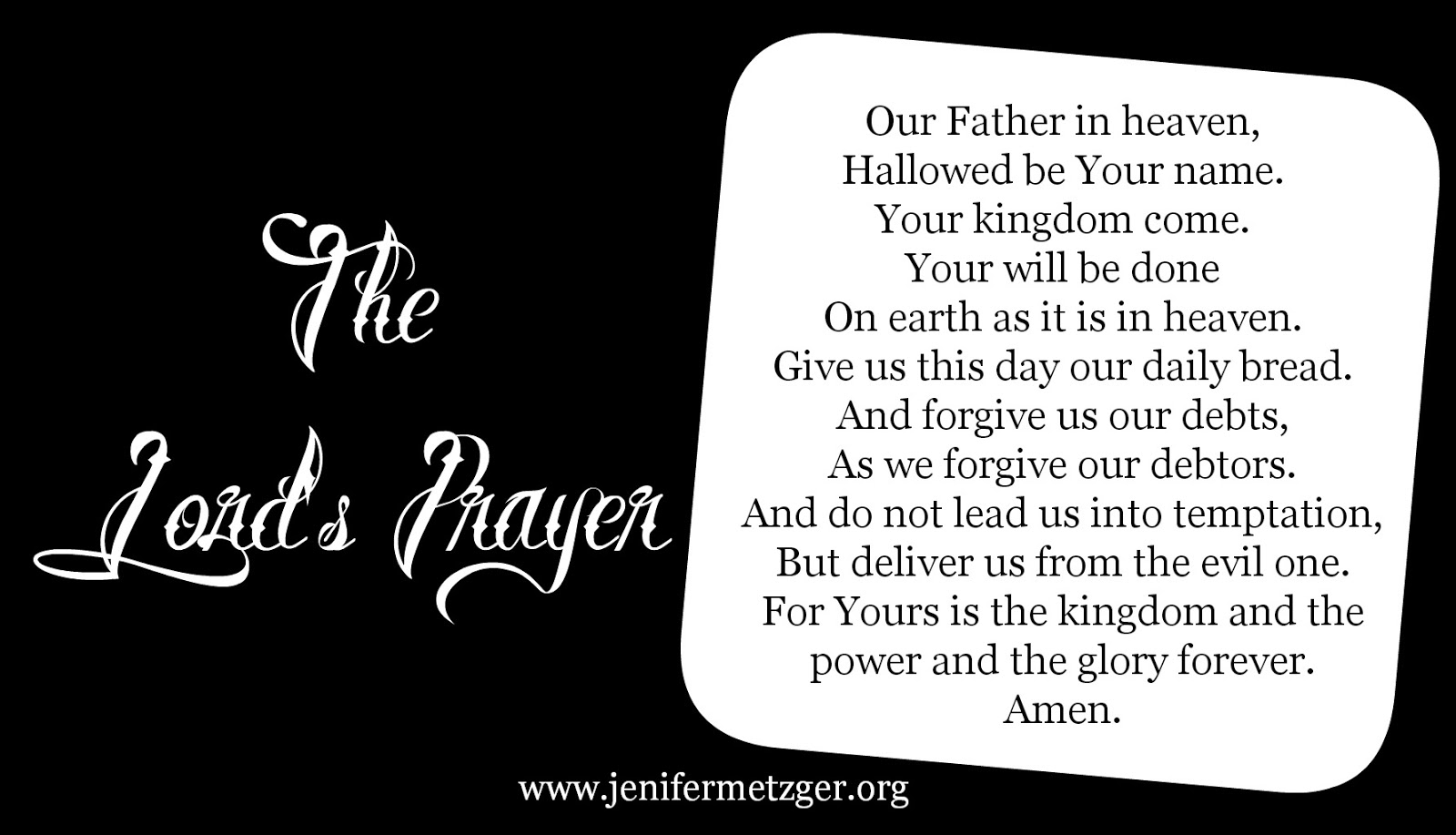 jenifer metzger the lord u0027s prayer