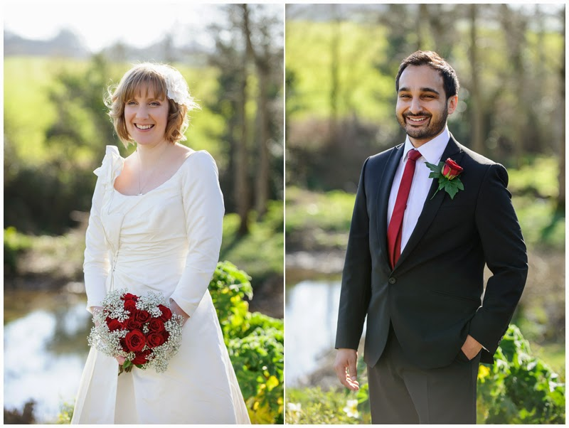 Bride and Groom portraits at Priston Mill