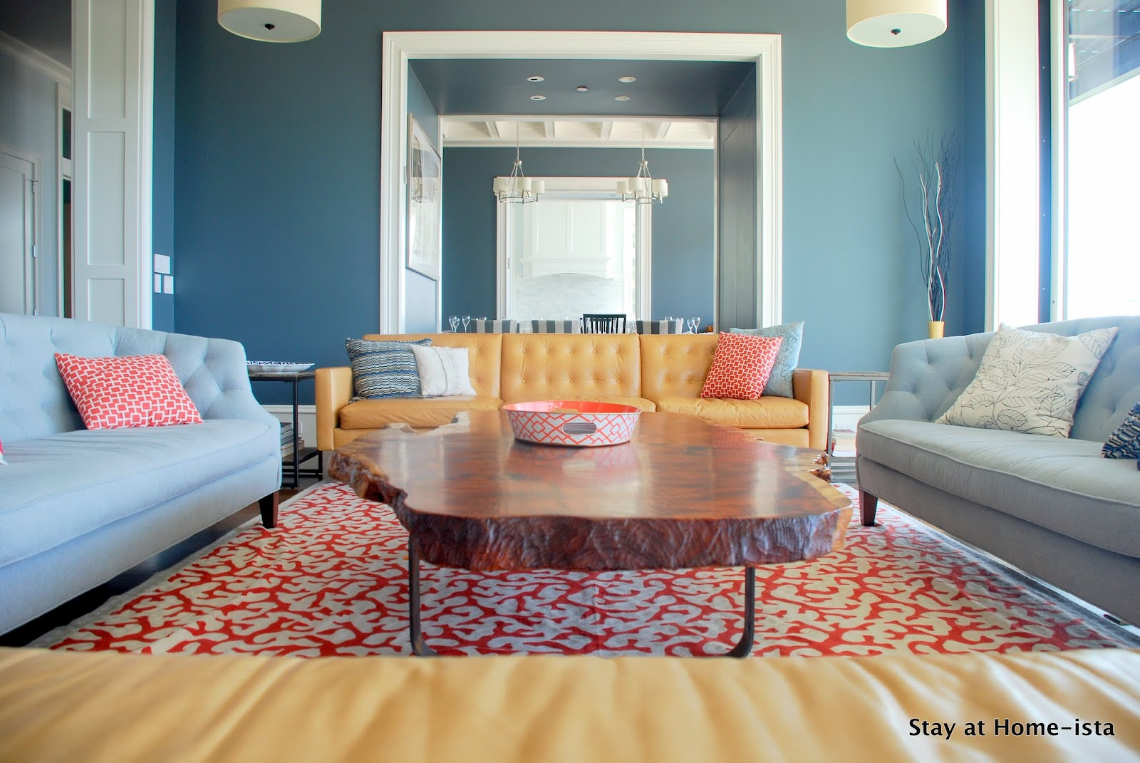 blue and coral living room