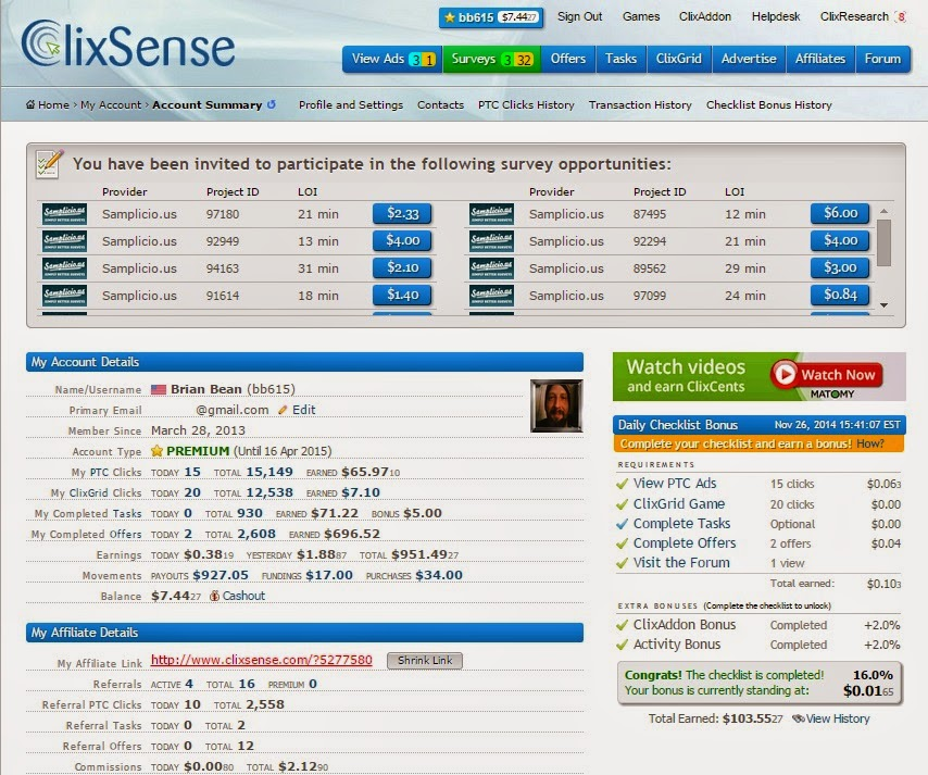 Clixsense gives members detailed stats from all earning outlets on the site