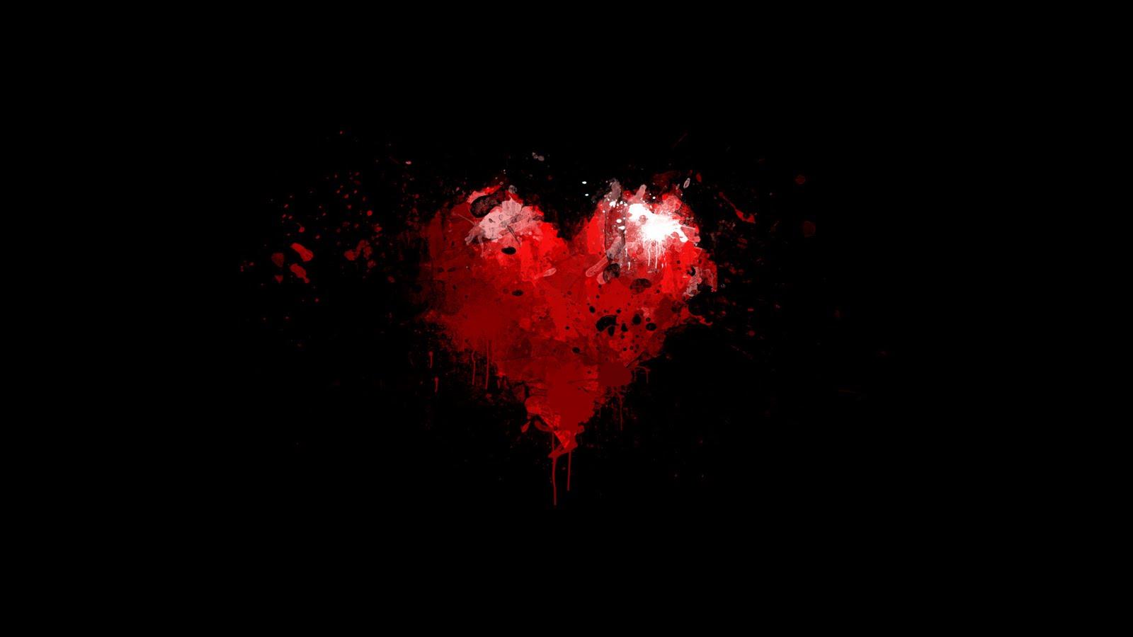 Dark Red Heart with Black Background