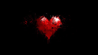 Minimalism Black Red Heart Paint Drop HD Love Wallpaper