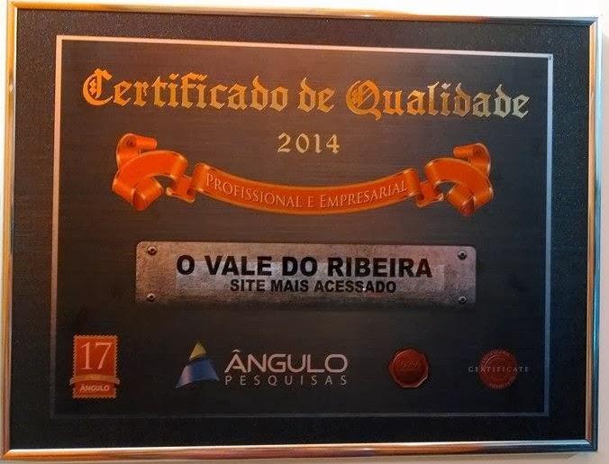 """O Site O Vale do Ribeira recebeu nesta sexta-feira dia 21 de fevereiro de 2014 o prêmio """"Site mais Acessado"""" no Estoril em Registro-SP."""