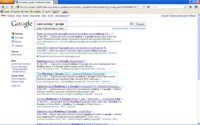 Hasil Posting Top Ranking 1 Google 2011 Setelah 96 Jam di Google Indonesia - Cara Ranking 1 Google