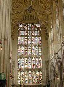 Catedral de Bath en Inglaterra. Vitrales de Iglesias por el mundo. Iglesias del Mundo. Iglesias por el mundo. Basilica Cristiana. La iglesia en la edad media