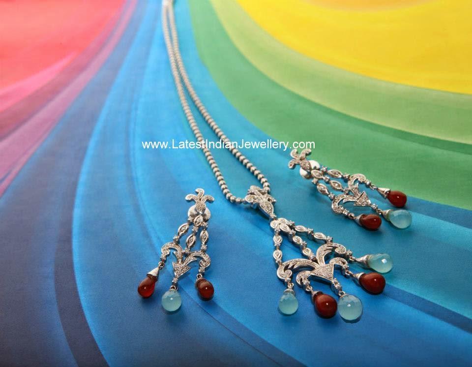 Indian Platinum Diamond Pendant Set