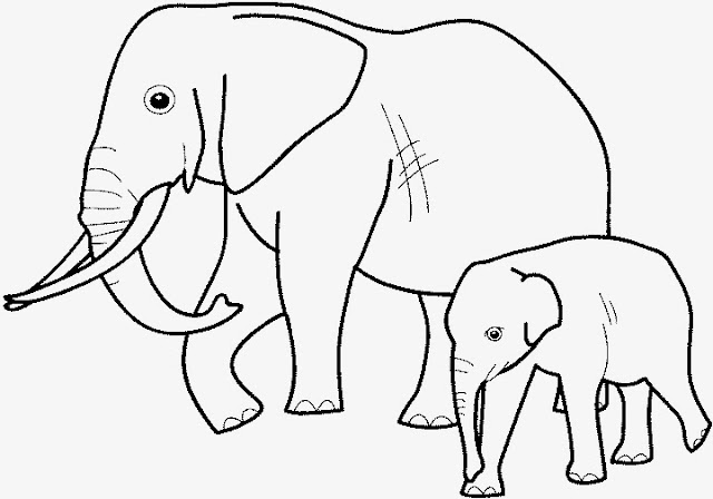 Elephant Mom Baby Coloring Drawing Free wallpaper
