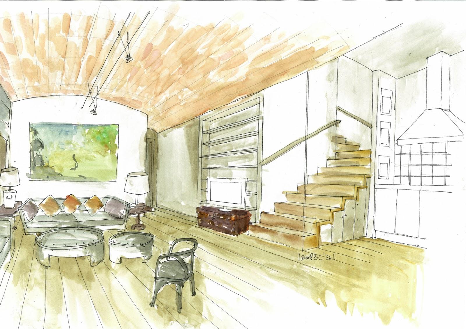 Dibujo de sal n abovedado hecho con t cnica mixta for Disenar espacios interiores