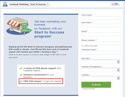 Get free facebook advertising coupons