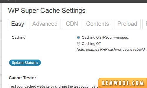 wordpress plugin wp super cache