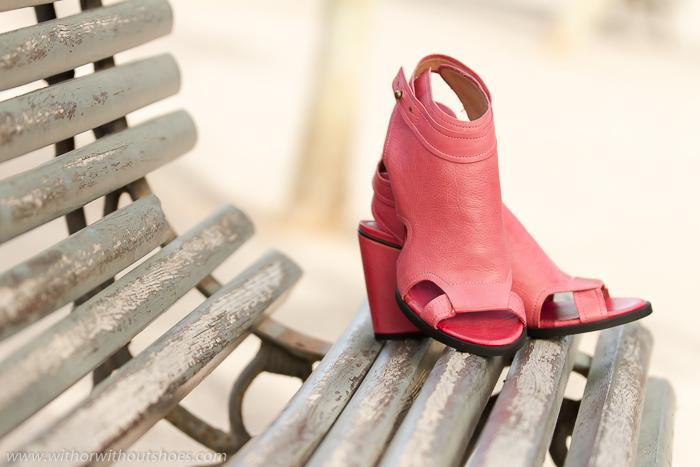 Sandalias abotinadas comodas de cuero piel color rosa de la marca Hanga Shoes
