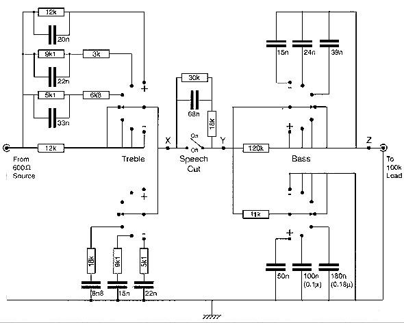 audio schematics  passive tone control