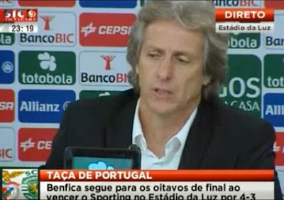 Jorge Jesus confude William Carvalho com carro da formula 1
