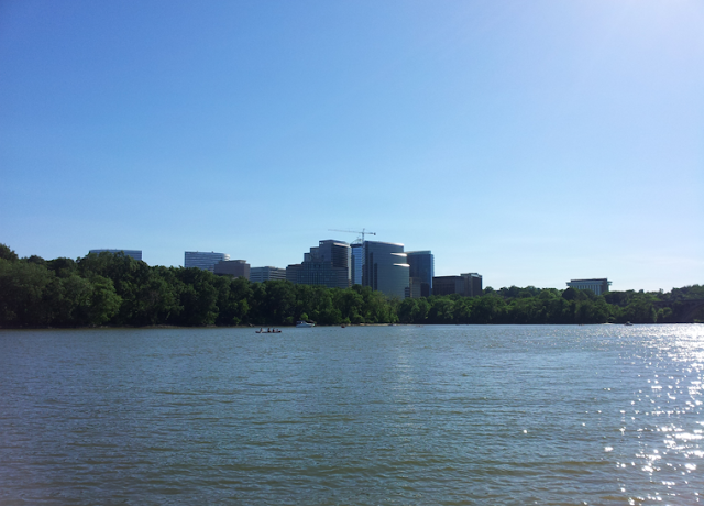 Georgetown waterfront water front Potomac River Rosslyn Arlington VA skyline