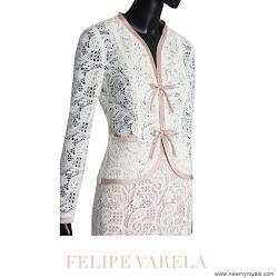 Queen Letizia Style FELIPE VARELA Dress and TOUS Earrings