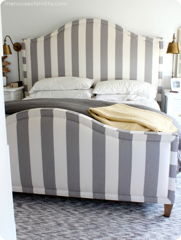 Striped headboard and footboard in master bedroom - thehouseofsmiths.com