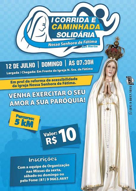 Cartaz da Corrida e Caminhada Solidária N.S. de Fátima