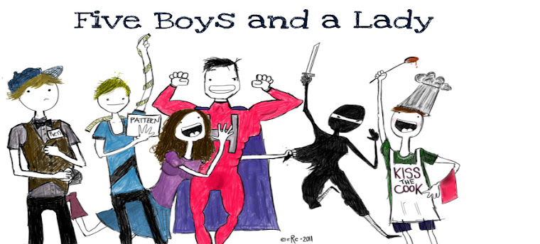 five boys and a lady