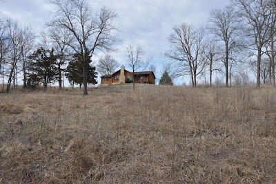 Distant log cabin with huge field in the foreground - my house and land