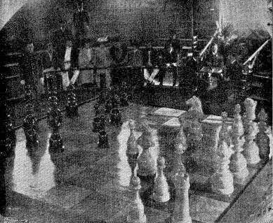 Tablero de ajedrez gigante en el Sportsmen's Club en 1904