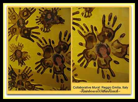 Painted Handprint Flowers in Reggio Emilia Italy