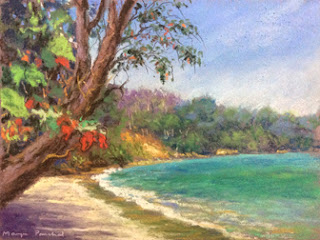 Original soft pastel painting of a seashore in Langkawi by Manju Panchal