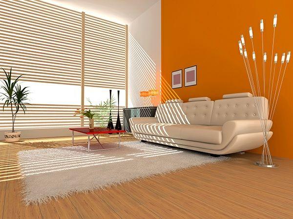 Decoraci n interior de salas en color naranja colores en - Pared naranja combina con ...