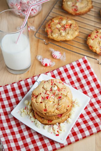 These peppermint white chocolate chip cookies will disappear fast!