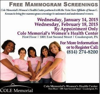 1-14 & 2-18 Free Mammogram Screenings