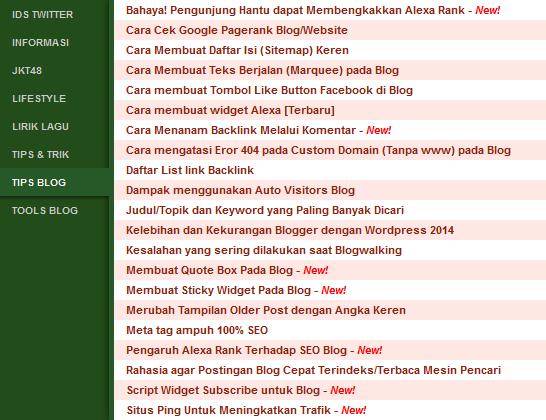 Membuat Daftar Isi Tabulasi Blogger