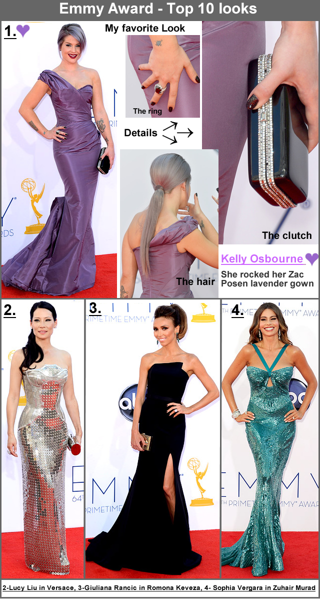 Top 10 Outfits from 2012 Emmy Awards - Kelly Osbbourne in Zac Posen, Lucy Liu in Versace, Giuliana Rancic in Romona Keveza, Sophia Vergara in Zuhair Murad