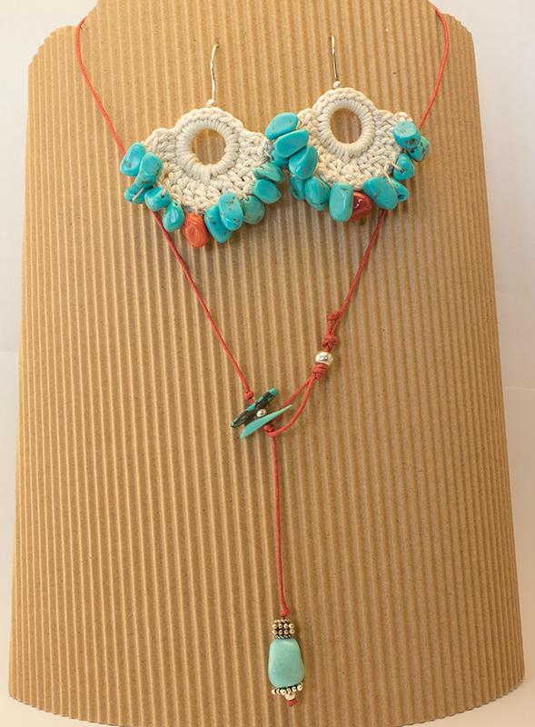 collana e orecchini turchese, corallo e argento