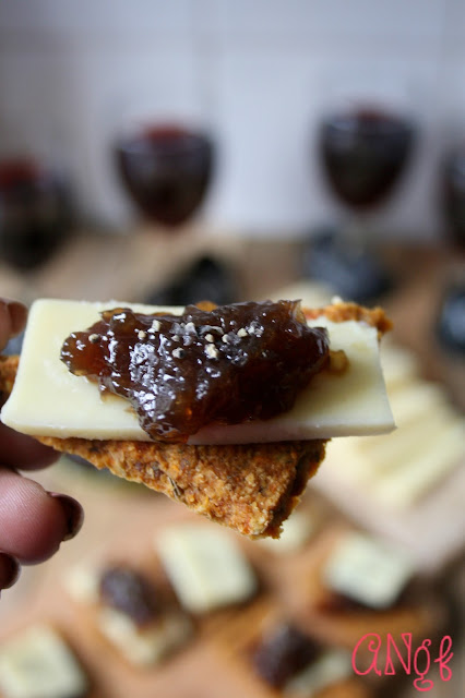 Close up of Gluten Free Havarti & Caramelised Onion Canapes  for New Year's Eve | Anyonita-nibbles.co.uk