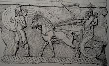 Monarque assyrien sur son char de parade
