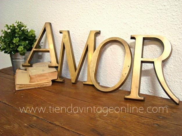 Letras de laton para decoracion. Comprar letras de metal palabra LOVE Y AMOR