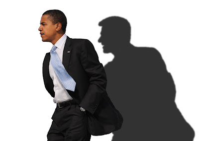Barack Obama casting a shadow of Bill Clinton