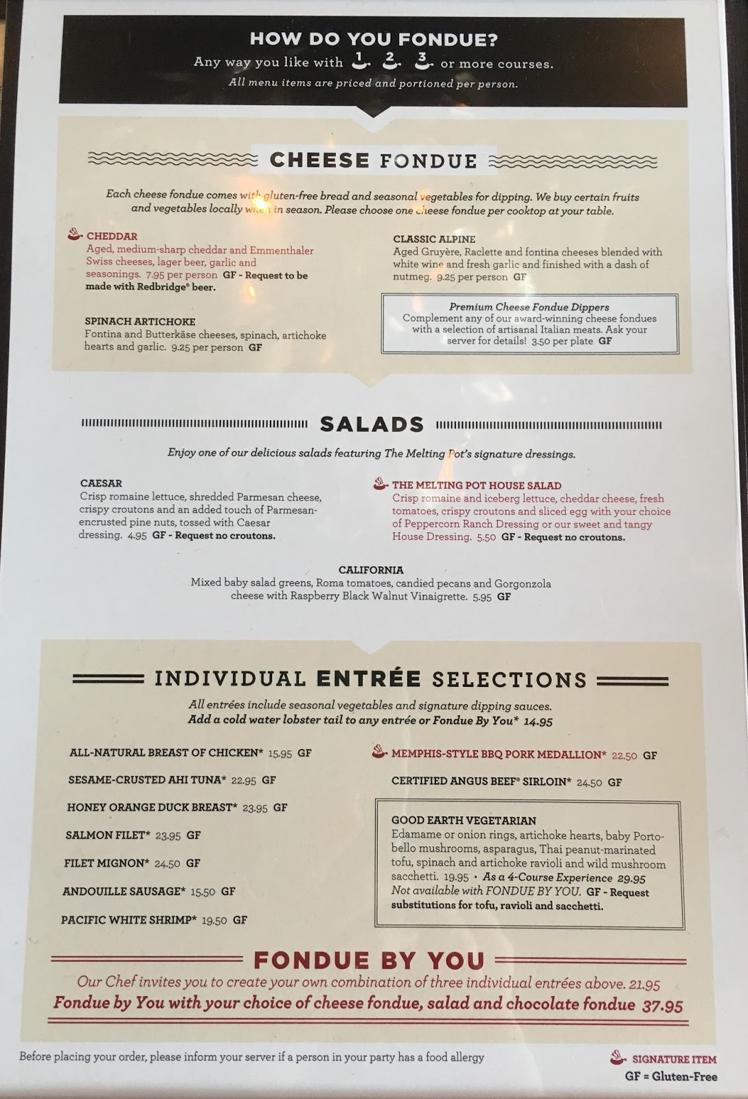 My Daughters And I Decided To Try The Four Course Experience Which Includes Cheese Fondue Salad An Entree And Chocolate Fondue