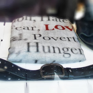 Love Hate, Fear, Poverty, Hunger...shawl by Cristina Nicolletti for Henry Beguelin