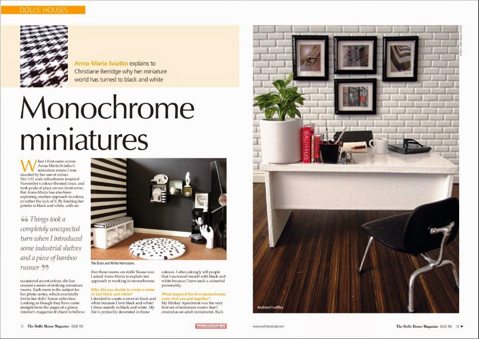 Two page spread of an article 'Monochrome miniatures' about my work in the May 2014 issue of The Dolls' House Magazine.
