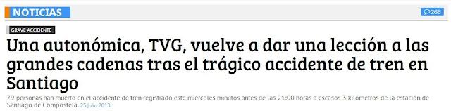 La TVG, elogiada por su cobertura del accidente de tren de Santiago