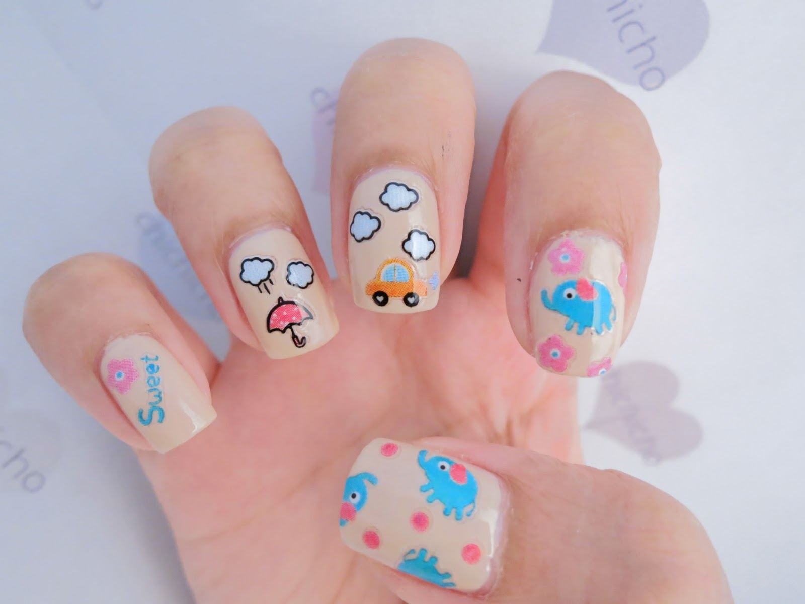 Elephant Stickers Nail Art! (Born Pretty Store review) - chichicho~