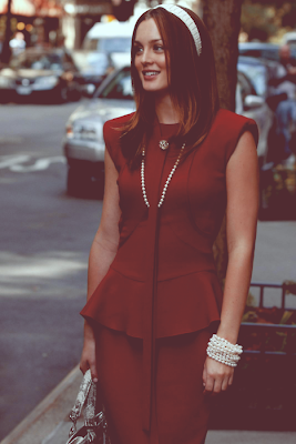 Fashionista Blair Waldorf from Gossip Girl style clothing in red dress with pearls.