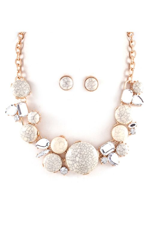 Bethany Statement Necklace in Ivory