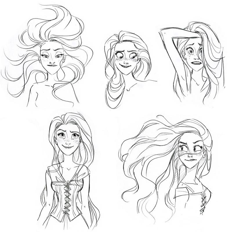 Character Design Concept Art Tutorial : El baúl de los deseos antes y después rapunzel