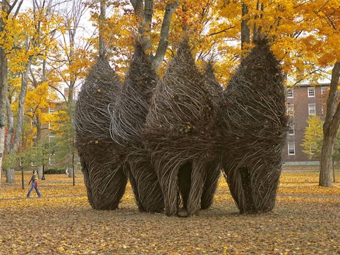 Massive Stick Sculptures Resemble Castles, Nests and Coccoons