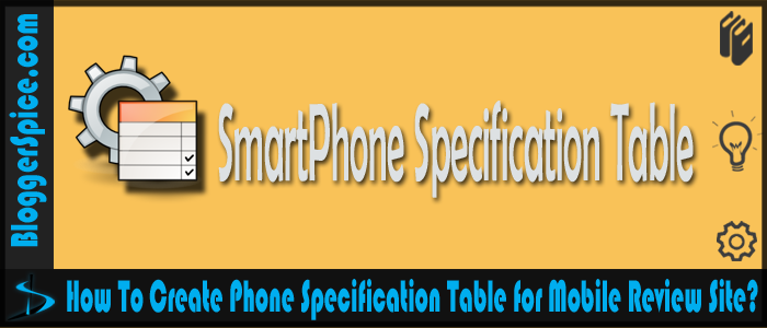 Smartphone specification table