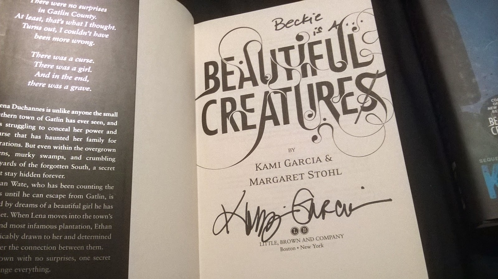 Beautiful Creatures By Kami Garcia & Margaret Stohl  Signed @author  Signing